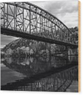 Bridge Reflections In Autumn Wood Print