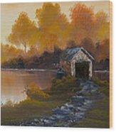 Covered Bridge In Fall Wood Print