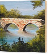 Bridge Under El Dorado Lake Wood Print by Robert Carver