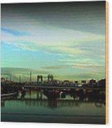 Bridge With White Clouds Vignette Wood Print