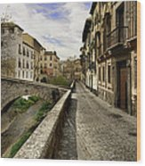 Bridges At Darro Street In Historic Albaycin In Granada Wood Print