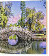 Bridges At Liliuokalani Park Hilo Wood Print
