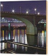 Bridges At Night Wood Print