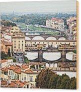 Bridges Of Florence Wood Print by Susan Schmitz