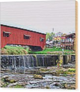 Bridgeton Mill And Covered Bridge Wood Print