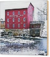 Bridgeton Mill In Winter Wood Print by Virginia Folkman