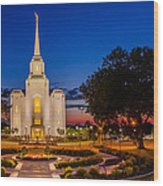 Brigham City Temple Twilight 1 Wood Print