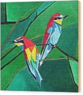 Brighly Colored European Bee-eaters Wood Print