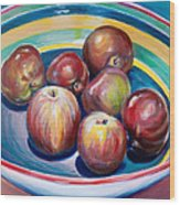 Red Apples In Striped Bowl Wood Print