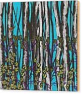 Bright Blue And Birch Wood Print