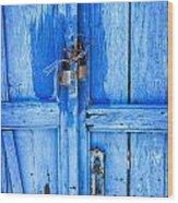 Bright Blue Door Wood Print