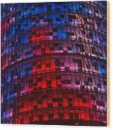 Bright Blue Red And Pink Illumination - Agbar Tower Barcelona Wood Print