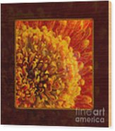 Bright Budding And Golden Abstract Flower Painting Wood Print