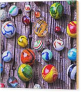 Bright Colorful Marbles Wood Print