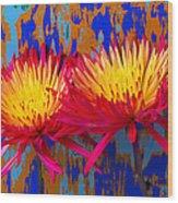 Bright Colorful Mums Wood Print