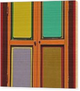 Bright Colorful Window Shutters With Four Panels Wood Print