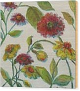 Bright Contemporary Floral  Wood Print