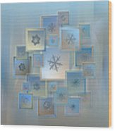 Snowflake Collage - Bright Crystals 2012-2014 Wood Print by Alexey Kljatov