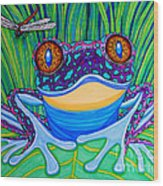 Bright Eyed Frog Wood Print by Nick Gustafson