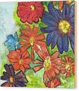 Bright Flower Bunch Wood Print