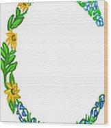 Bright Fun Colorful Hand Drawn Monogram C Wood Print