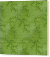 Bright Green Fractal Wood Print