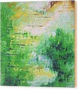 Bright Green Modern Abstract Garden Spirits By Chakramoon Wood Print