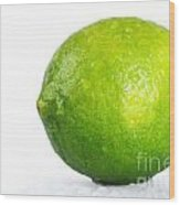 Bright Green Wet Lime Over White Wood Print
