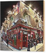 Bright Lights Of Temple Bar In Dublin Ireland Wood Print