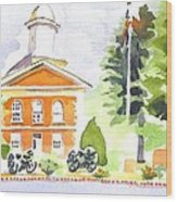 Bright Morning At The Courthouse Wood Print