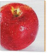 Bright Red Apple With Water Drops Wood Print