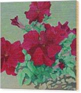 Red Flowers Art Brilliant Petunias Bright Floral  Wood Print