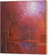 bright red modern abstract IN TOUCH WITH YOUR SOUL by Chakramoon Wood Print