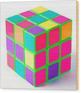 Bright Rubix Wood Print by Kenneth Feliciano