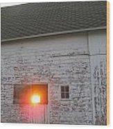 Bright Sunrise Through Barn Wood Print