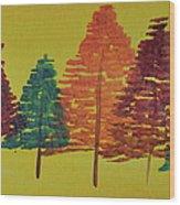 Bright Trees Wood Print