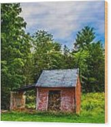 Bright Wood Shed Wood Print by Jason Brow