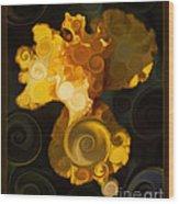Bright Yellow Bearded Iris Flower Abstract Wood Print