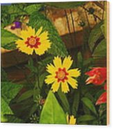 Bright Yellow Flowers Wood Print