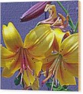 Bright Yellow Lilies Wood Print