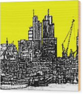 Dark Ink With Bright Yellow London Skies Wood Print