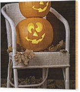 Brightly Lit Jack O Lanterns Wood Print