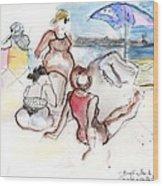 Brighton Beach On A Windy Day Wood Print