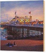 Brighton's Palace Pier At Dusk Wood Print