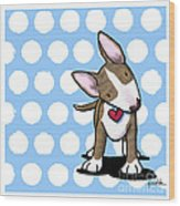 Brindle Bully On Dotted Blue Wood Print