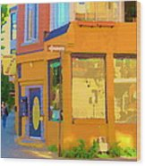 Bring Your Own Wine Restaurant Vents Du Sud Rue Roy Corner French Cafe Street Scene Carole Spandau Wood Print