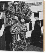 British Army Soldier With Mp5 On Crumlin Road At Ardoyne Shops Belfast 12th July Wood Print by Joe Fox