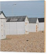 British Beach Huts In Sussex Wood Print