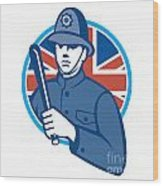 British Bobby Policeman Truncheon Flag Wood Print
