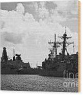 British Brazilian And Us Navy Warships Mole Pier Key West Harbor Florida Usa Wood Print